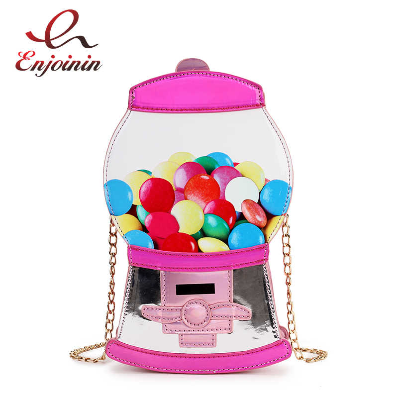 Cute Fashion Candy Machine Pu Laser Pu Young Girl's Crossbody Mini Messenger Bag Shoulder Bag Handbag Female Flap Bolsa Handbag