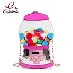 Image 1 - Śliczne moda automat z cukierkami Pu Laser Pu młoda dziewczyna Crossbody Mini torba na ramię torebka damska Flap Bolsa torebka