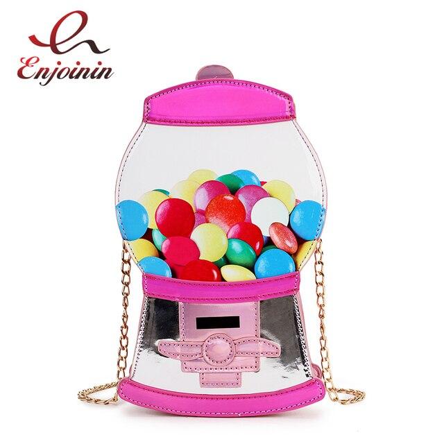 Śliczne moda automat z cukierkami Pu Laser Pu młoda dziewczyna Crossbody Mini torba na ramię torebka damska Flap Bolsa torebka
