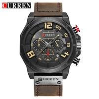 CURREN Male Clock Quartz Wrist Watch Calendar Relogio Masculino Chronograph Fashion Sports Leather Strap Men Watches