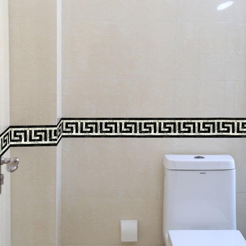 PVC Self Adhesive 3D Wallpaper Border Kitchen Bathroom Skirting Line Sticker Removable Modern Tile Wall Sticker Waterproof Decor