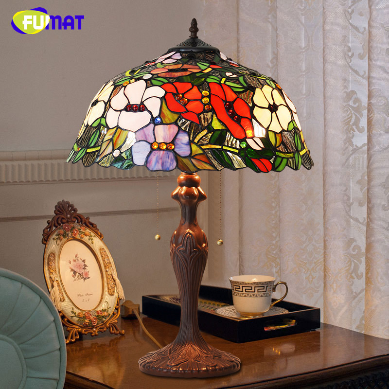 FUMAT Glass Table Lamps Art Decor Flower Shade Table Lamp For Living Room LED Stained Glass Lamp Office Bedside Stand Table Lamp fumat classic table lamp european baroque stained glass lights for living room bedside table light creative art led table lamps