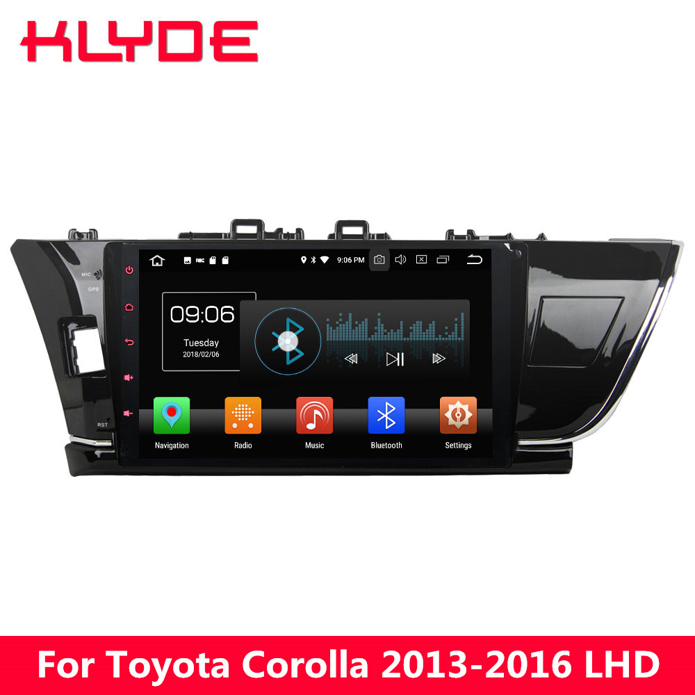 KLYDE 10.1 IPS 4G Android 8.0 Octa Core 4GB RAM 32GB ROM BT Car DVD Multimedia Player Stereo Radio For Toyota Corolla 2013-2016