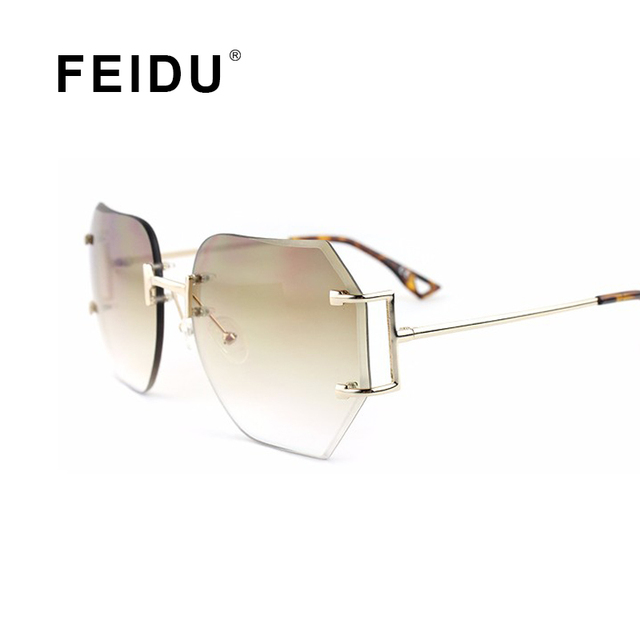 a3e4445a18875 FEIDU Rimless Sunglasses Women Brand Design Oversize Tint Lens Sun glasses  Women Eyewear For Female Glasses