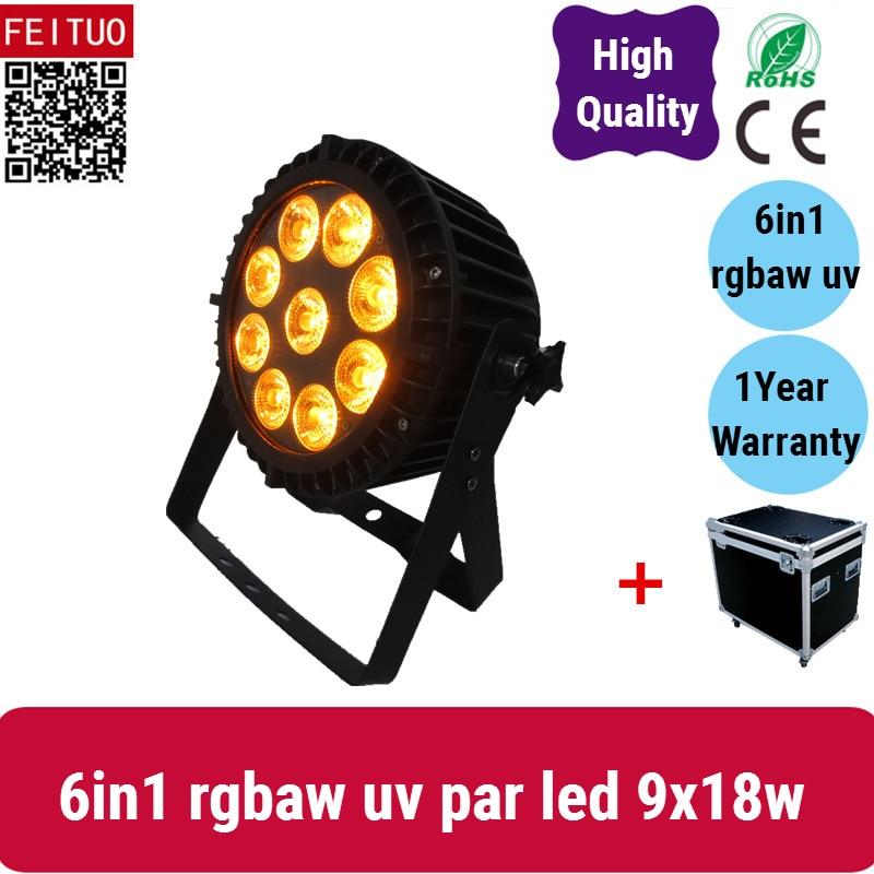 A (12lot/CASE)Outdoor wash led flat par rgbaw uv 6in1 slim par 9x18w led stage lighting led par cans flight case