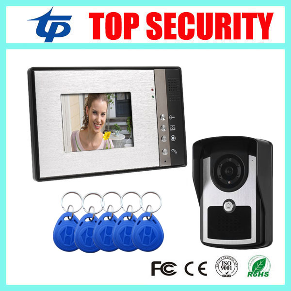 125KHZ RFID card access control video door phone system wired 7 inch color screen video door bell with RFID card reader 7 inch password id card video door phone home access control system wired video intercome door bell