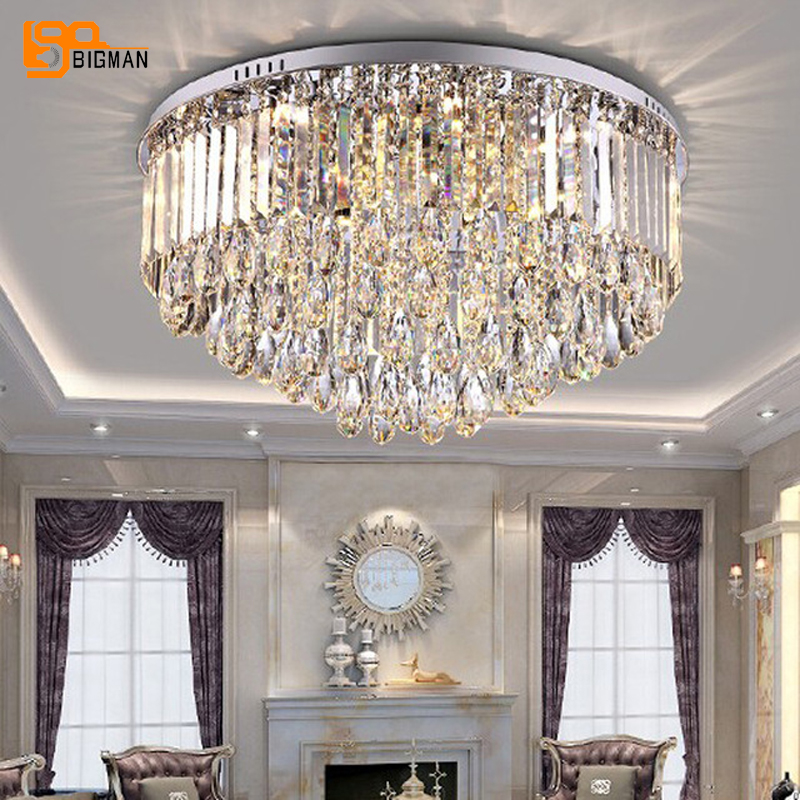 new design modern ceiling chandeliers living crystal lights round LED lamparas de techo indoor lighting-in Chandeliers from Lights & Lighting    1