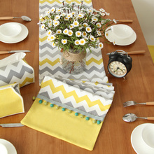 Table Runner Poly Cotton Blend Nordic Yellow Gray Wave Fabric Tablecloth Mesa Party Decoration Pop Art