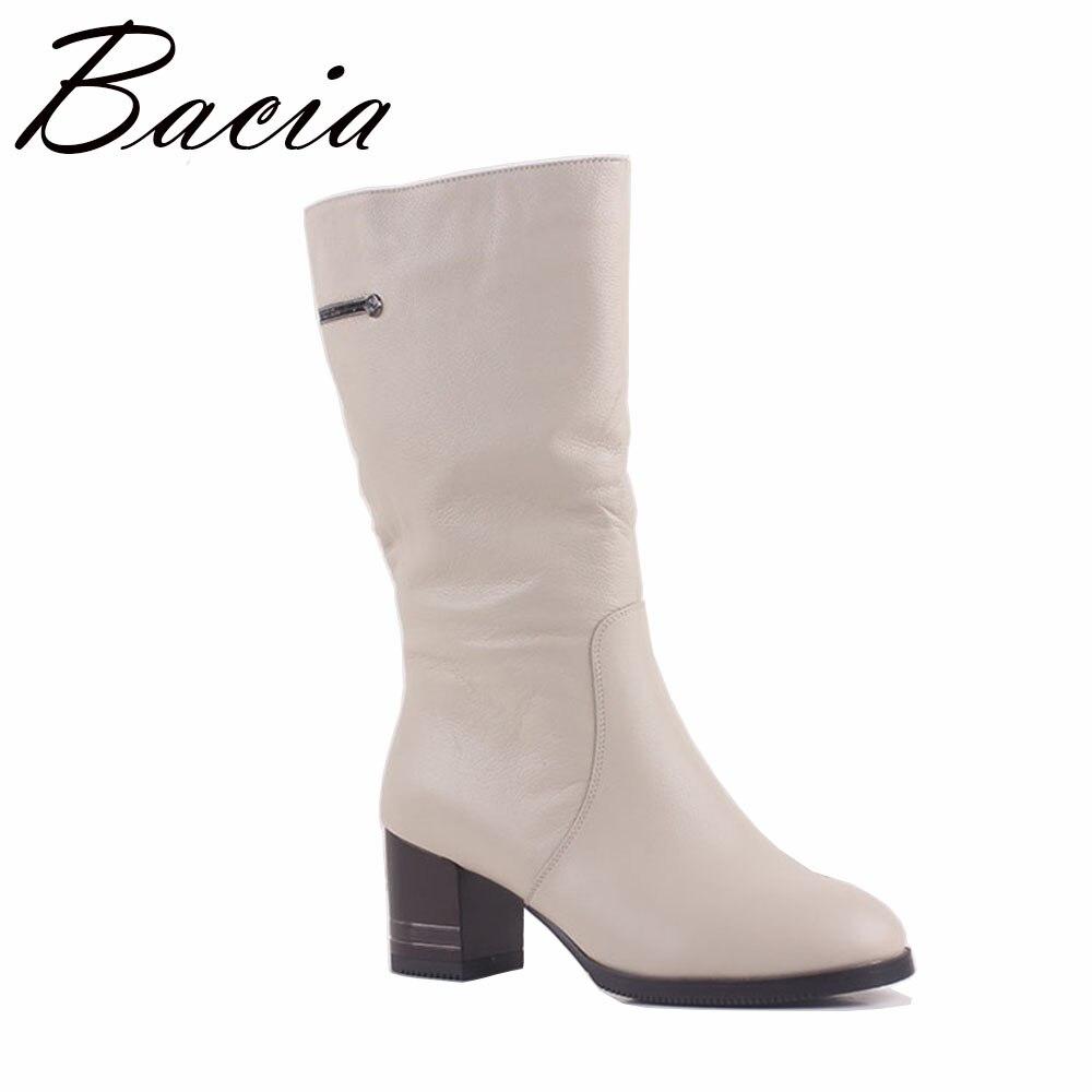 Bacia D'hiver Haute talons Coins Femmes De Mode En Cuir Gnuine Bottes Chaud Laine Fourrure Chaussures Blanc Mi-mollet Bottes Taille 36-41 MA011
