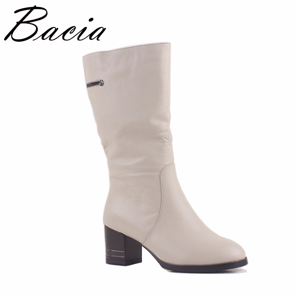 Bacia Winter High heels Wedges Women Fashion Gnuine Leather Boots Warm Wool Fur Shoes White Mid-Calf Boots Size 36-41 MA011