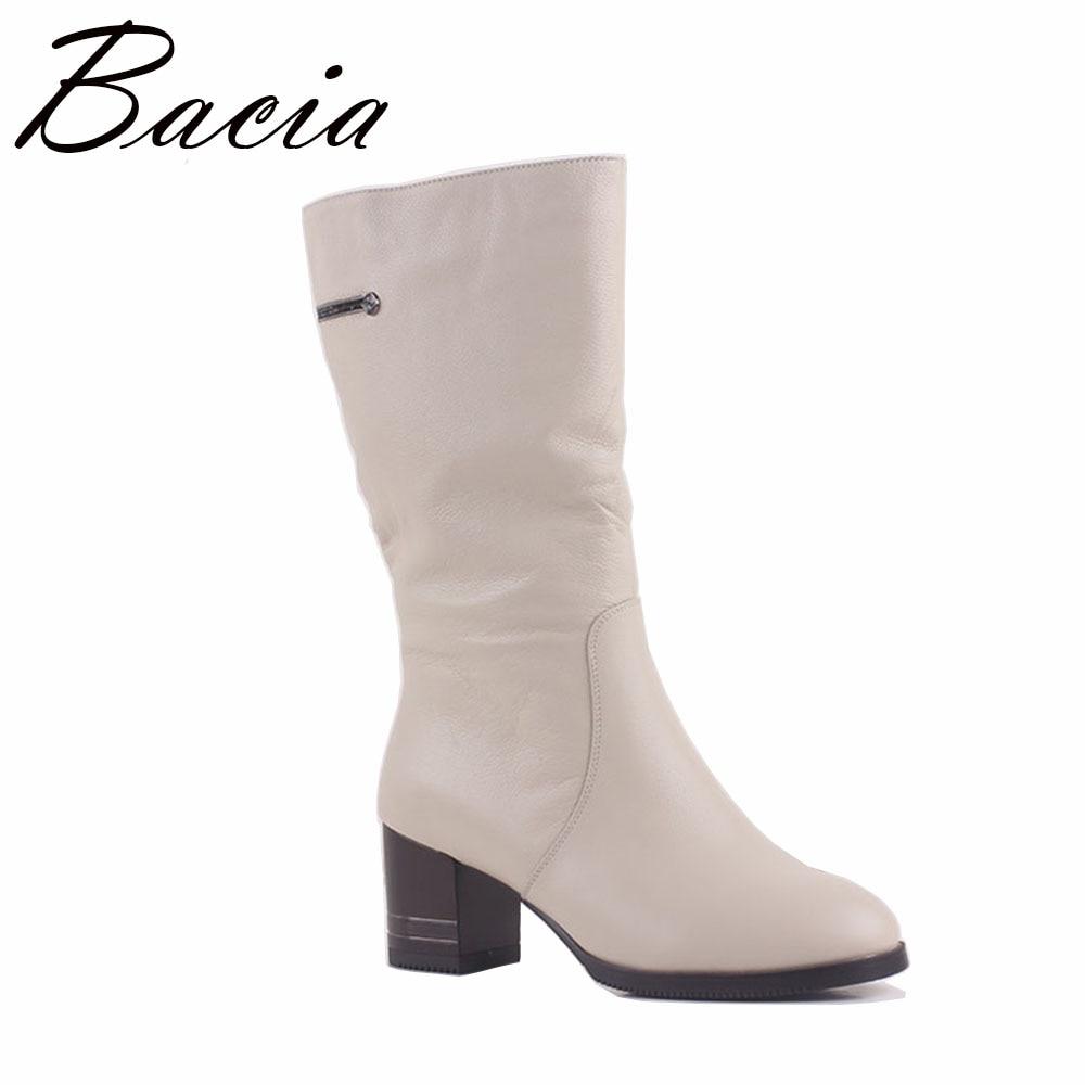 Bacia invierno tacones altos Wedges moda de cuero genuino botas de lana caliente zapatos de piel blanco MEDIADOS DE-becerro botas tamaño 36-41 MA011