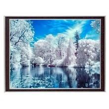 Handwerken Ambachten 14CT Canvas Volledige Borduren Diy Franse Kwaliteit Geteld Kruissteek Kits Diy Olieverf Winter Lake Art