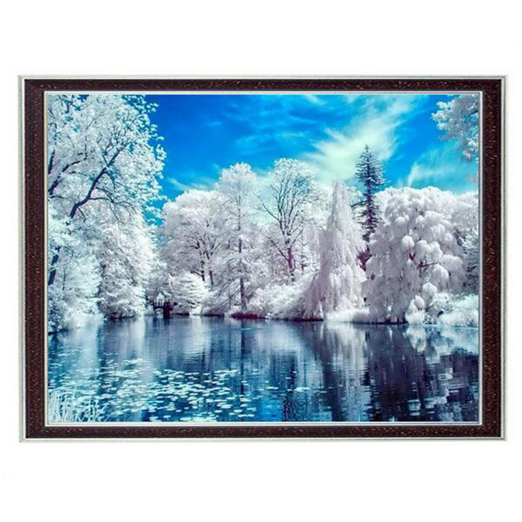 Needlework Crafts 14CT Canvas Full Embroidery DIY French DMC Quality Counted Cross Stitch Kits DIY Oil painting Winter Lake artNeedlework Crafts 14CT Canvas Full Embroidery DIY French DMC Quality Counted Cross Stitch Kits DIY Oil painting Winter Lake art