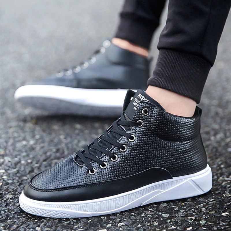 Hoge Top Schoenen 2020 Mode Comfortabele Mannen Casual Schoenen Mannen Sneakers Lace Up Trainers Wit Sneakers Mannen Schoenen Mannelijke Schoenen