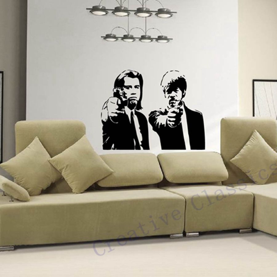 Home Decor Mural Art Wall Paper Stickers ~ Banksy jules and vincent pulp fiction vinyl wall decal