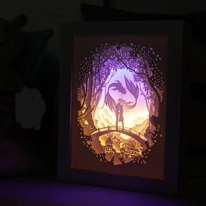 Image 4 - Brightinwdライトシャドウ紙ランプ 3D夜の光魚座恋人ベッドサイド装飾テーブルランプ