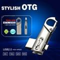 De Metal À Prova D' Água 16 GB 32 GB 64 GB Smart Phone Tablet PC USB Flash Drives OTG armazenamento externo micro 32G memória pen drive USB stick