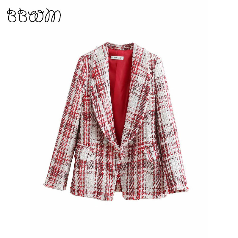 2019 Womens Designer Inspired Wool Tweed Jewelry Button Long Strap Jacket Coat