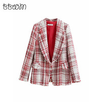 2019 Fashion Za Vintage Chic Jewelry button Tweed Jacket Elegant Women Plaid Coats Pockets Lapel Collar Casual Casaco Femme