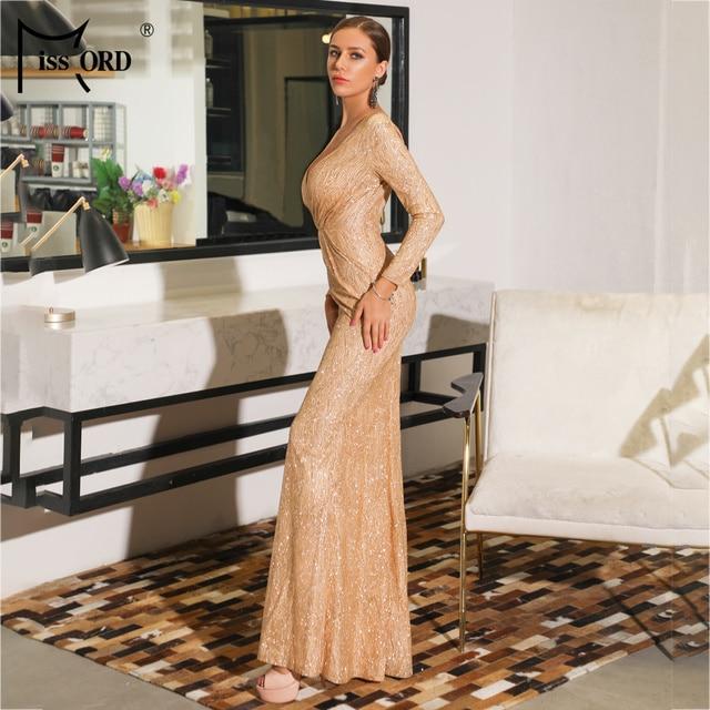 Missord 2019 Sexy V Neck Long Sleeve Glitter High Split Dresses Female Elegant Party Clubwear Maxi Elegant Dress VestdiosFT18776 2