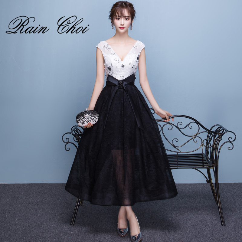 V-neck Wedding Party Gowns Black and White Formal Prom   Dresses   Tea Length   Evening     Dress