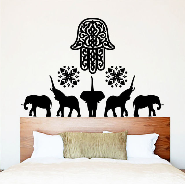 New Elephant Wall Decals Hamsa Fatima Hand Indian Style Vinyl Wall Sticker  Home Decor Living Room