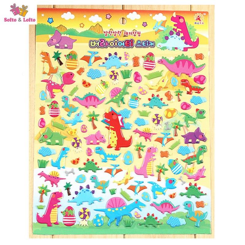 2 большие листы Динозавров Мультфильм Аниме 3D пены наклейки атрибуты Украшение Подарки для детей детские игровые игрушки мальчиков забавны...