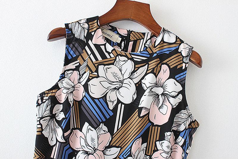 Bella Philosophy 2017 spring summer jumpsuit Women floral print bow waist jumpsuit sleeveless wide leg jumpsuit 14