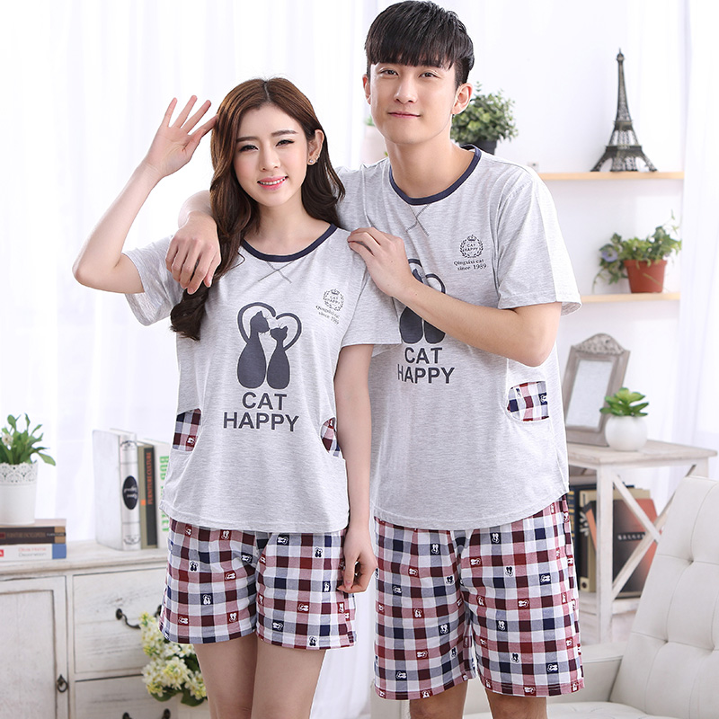 Summer NEW Couples Sleepwear Women Pajamas Check Pajama Sets Cotton Pijama Hombre Masculino Pyjamas Men's Pajamas Fashion Lounge