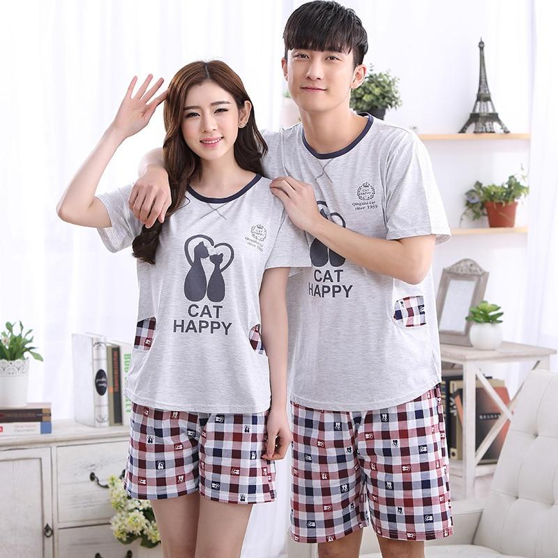 Summer NEW Couples Sleepwear Women Pajamas Check Pajama Sets Cotton Pijama Hombre Masculino Pyjamas Men's Pajamas Fashion Lounge