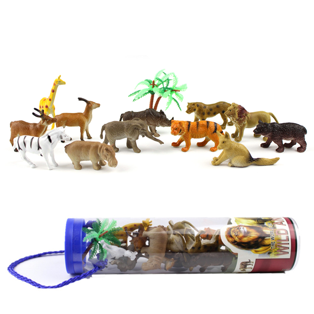 Kids Children 12PCS Mini Artificial Forest Wild Animals Model Toy 12 Different Style Wildlife Model Toy With Storage Box
