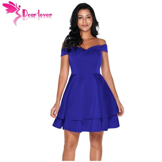 19a47369cab9 Dear Lover off shoulder dresses Short Summer Swing Navy Layered Elegant  Mini Dress Party Vestidos Burgundy
