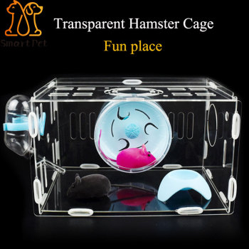 SMARTPET Acrylic Transparent Hamster House Small Pet Cage Mouse House Castle Hamster Nest with Environmental Material 1