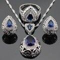 Ashley Azul Criado Sapphire Branco CZ Conjuntos de Jóias Para As Mulheres Brincos de Argola Colar de Pingente de Cor Prata Anéis Caixa de Presente Livre