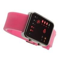 Esporte led relógios rosa moda feminina relógio de pulso quadrado casal presente silicone marca de luxo silicone led binary watch 2