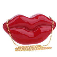 Women Acrylic Clutch Bag New Personality Style Red Lip Shape Wholesale Lady Evening Purse Girls Handbag With Chain