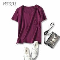 2017 Summer Single Pocket Two Sided 80 Mercerized Cotton Basic T Shirt Women Tops Short Sleeve