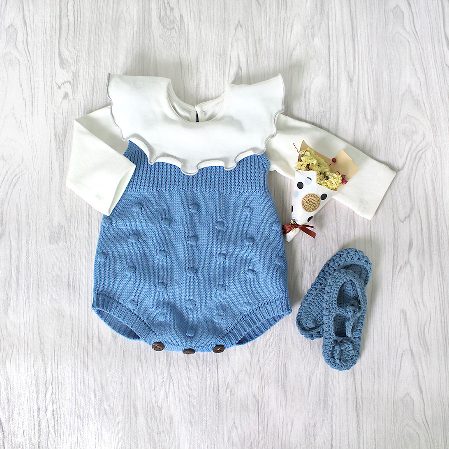 2018 Spring Ins Set Cute Knitted Full Sleeve Baby Bodysuit Pure Cotton Stylish Baby Girl Sweater Body Suits kids jumpsuit infant