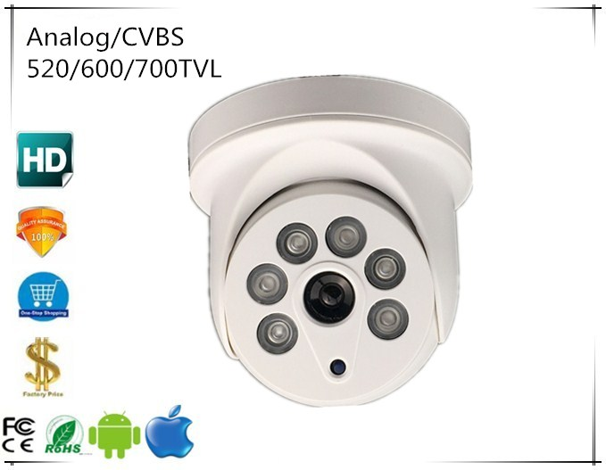 Intelligent Analog/cvbs Dome Camera 520/600/700tvl 6 Array Leds Infrared Nightvision Bnc Coaxial Cctv Security Surveillance Wide Varieties Surveillance Cameras Video Surveillance