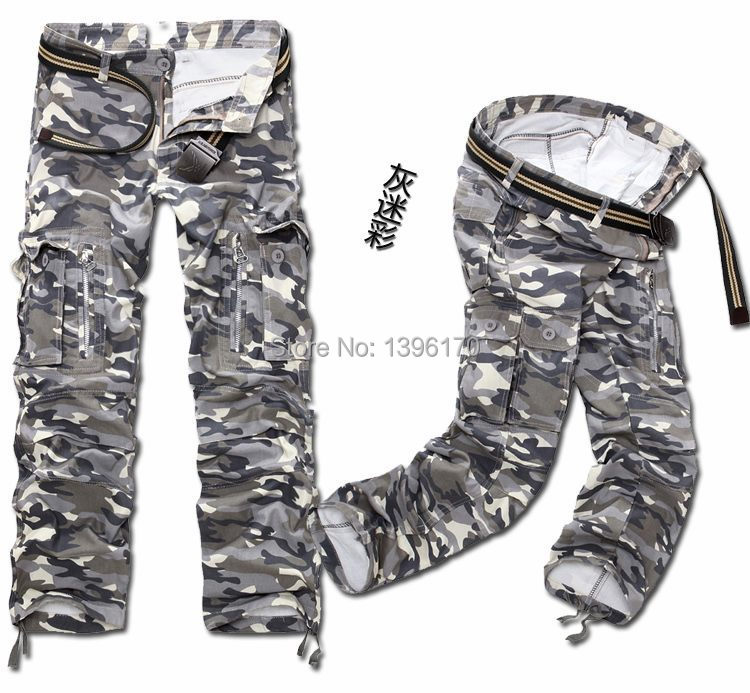 MIXCUBIC brand army tactical pants Multi-pocket washing 100% cotton army green camouflage cargo pants men plus large size 28-40 15