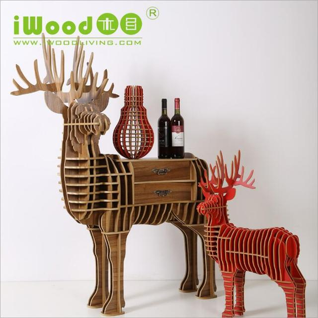 European-style wooden ornaments creative home furnishings Continental Shelf Wooden Crafts Nordic Home Elk deer Bookshelf