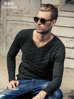 Enjeolon Brand 2017 pattern Knitted pullover Sweaters man,Solid black v neck Sweater,Man's cotton casual Clothing MY3005