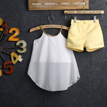 2 pcs Kids Baby Girls Dress Child Chiffon Woven Tops Shirt H