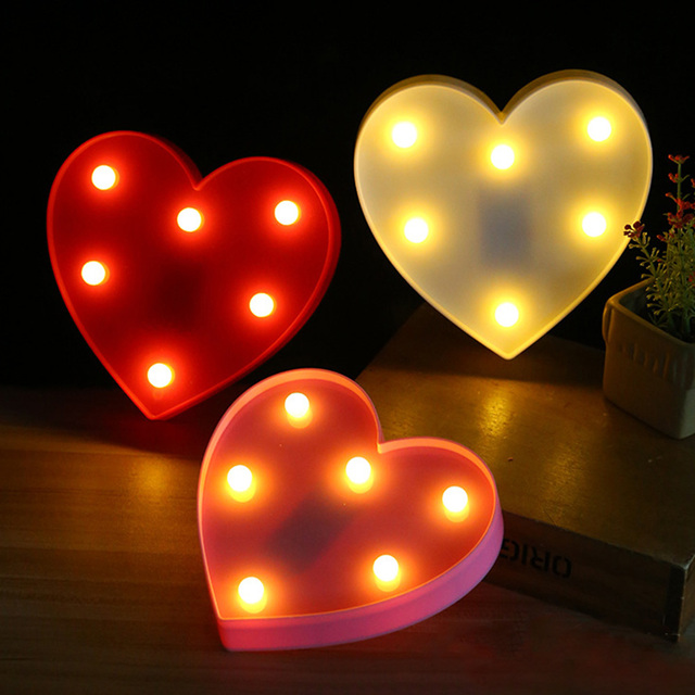 Romantic 3D Love Heart Marquee Letter Lamps Indoor Nights Lamps LED Night Light Valentine's Day Wedding Party Decoration