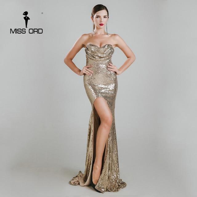Missord 2018 Sexy sleeveless halter bra split party dress sequin maxi dress FT4785-1