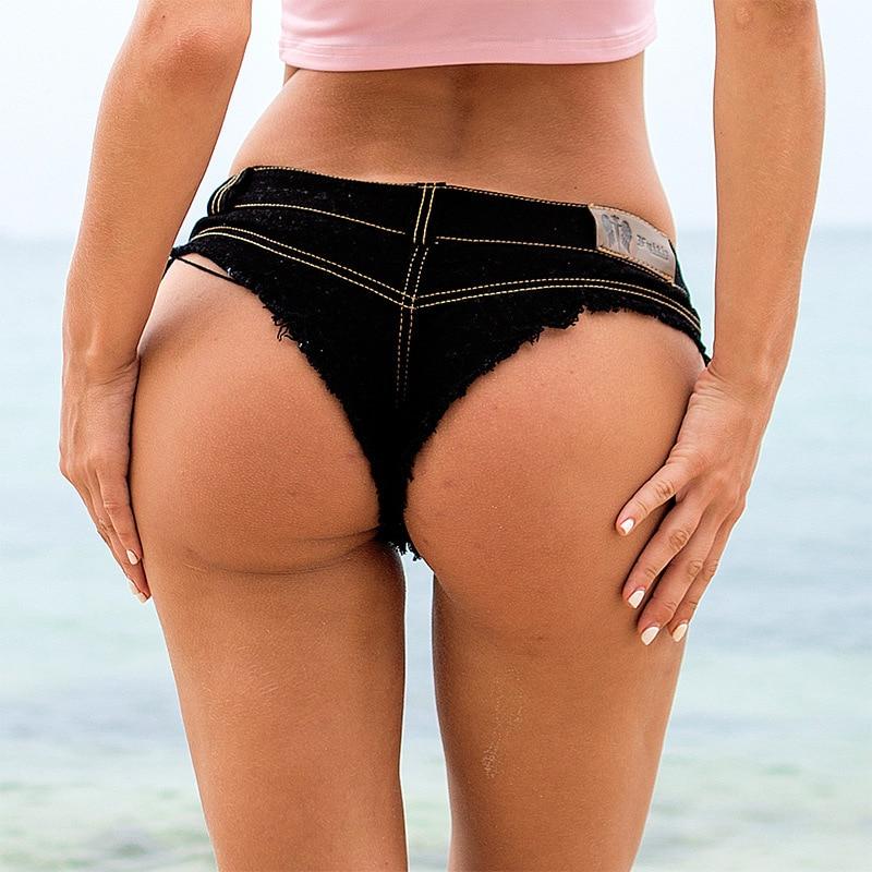 1pcs Women's Sexy super denim shorts  Summer denim cotton G-string shorts Ladies Skinny Sexy club super short jeans Girls 3