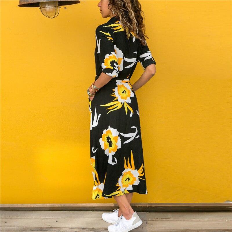 2019 été femmes décontracté Sexy robe v-cou laçage impression à la mode à manches longues femmes robe femmes Sexy robe Vestidos