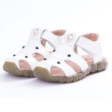 Новые летние туфли-лодочки из натуральной кожи; мягкие, удобные сандали пляжные сандалии для маленьких мальчиков и девочек, противоскользящие малыша обувь Sandaly
