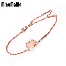 New Adjustable Lucky Bracelet Anklets Rose Gold Color Stainless Steel Heart Love Anklets For Women Jewelry