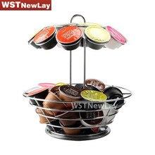 360 Degree Rotatable Capsule Coffee Holder Rack Iron Plated Bowl Elegant Storage Pod